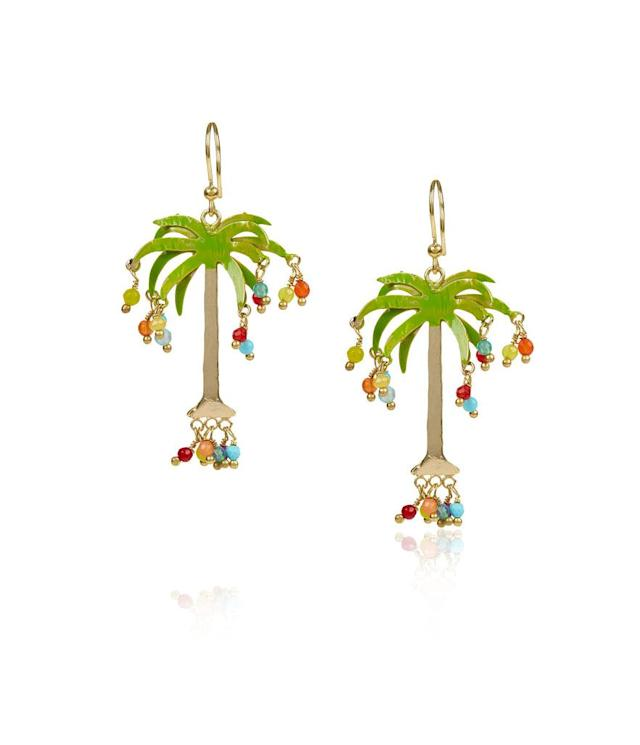 "<p>Rosantica gold Hawaii palm tree earrings, $150, <a href=""http://www.avenue32.com/us/gold-hawaii-palm-tree-earrings/ROS00317020865.html?utm_source=polyvore&utm_medium=affiliate&utm_campaign=earrings"" rel=""nofollow noopener"" target=""_blank"" data-ylk=""slk:avenue32.com"" class=""link rapid-noclick-resp"">avenue32.com</a> </p>"