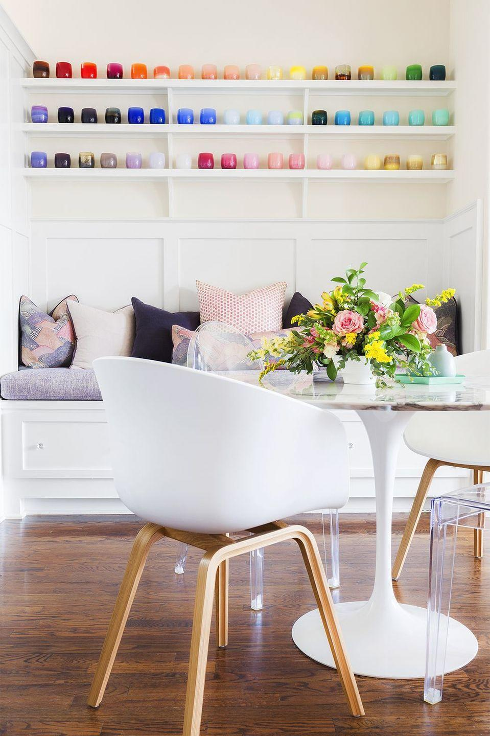 <p>Add charm to your Easter brunch setup with a low arrangement full of lush greenery, soft pink roses, and any bold yellow flowers of your choice. </p>