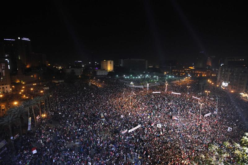 Supporters of Egypt's army and police gather at Tahrir square in Cairo
