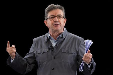 FILE PHOTO: Politician Jean-Luc Melenchon, of the French far-left Parti de Gauche, and candidate for the 2017 French presidential election, delivers a speech during a campaign rally in Chassieu