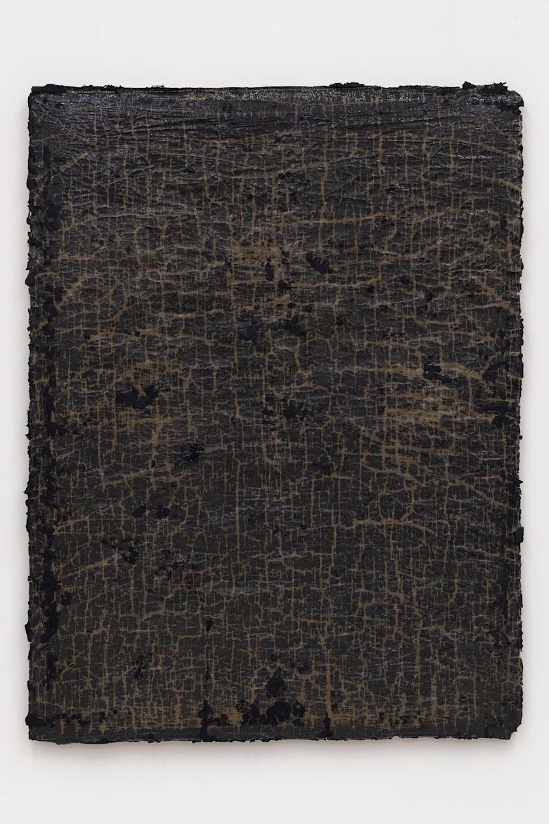 network #1, 2018 Cotton, wax, resin, and tar on canvas 68 1/2 x 52 x 1 1/2 inches