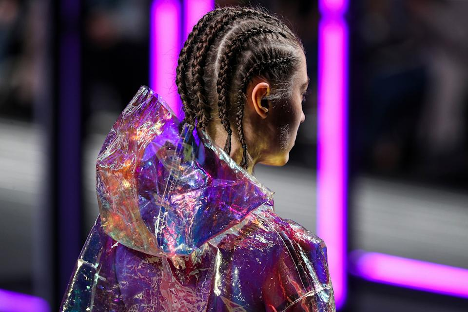 It's all too common for designers to walk white models down the runway in cornrows. This model walked the runway during Gonçalo Peixoto's show at Lisbon Fashion Week on March 10. (Photo: Carlos Rodrigues via Getty Images)