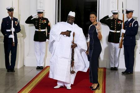 File picture of Gambia's President Yahya Jammeh and his wife arriving for the official U.S.-Africa Leaders Summit dinner at the White House in Washington