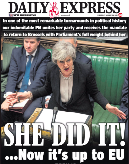<p>Long-time Brexit supporting newspaper The Daily Express gives their full backing to Mrs May, saying 'she did it!' and calling the wins 'one of the most remarkable turnarounds in political history'. </p>