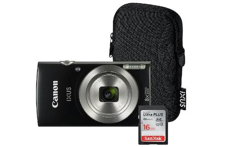 canon IXUS compact camera with case and memory card