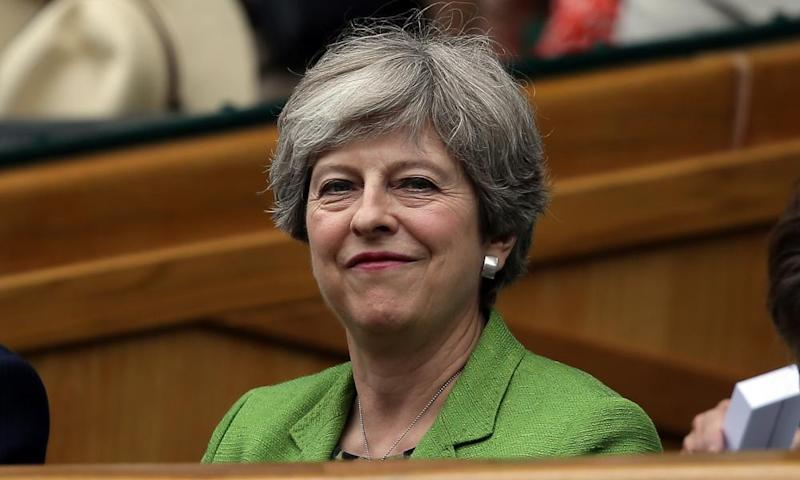 Theresa May in the royal box of centre court at Wimbledon