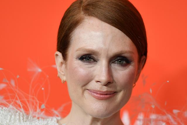 Julianne Moore arrives on the red carpet for the Time 100 Gala at the Lincoln Center in New York on April 23, 2019