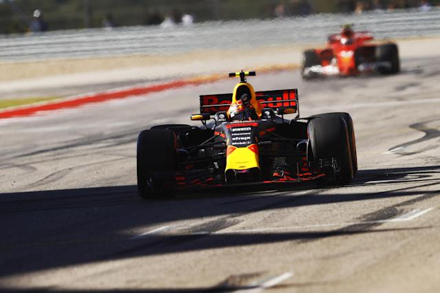 Not so fast, Max: Verstappen crosses the line in third position, ahead of Kimi Raikkonen. Or so it seems…