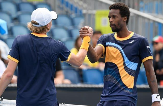 Gael Monfils, right, fell to a five-set defeat to Finland's Emil Ruusuvuori
