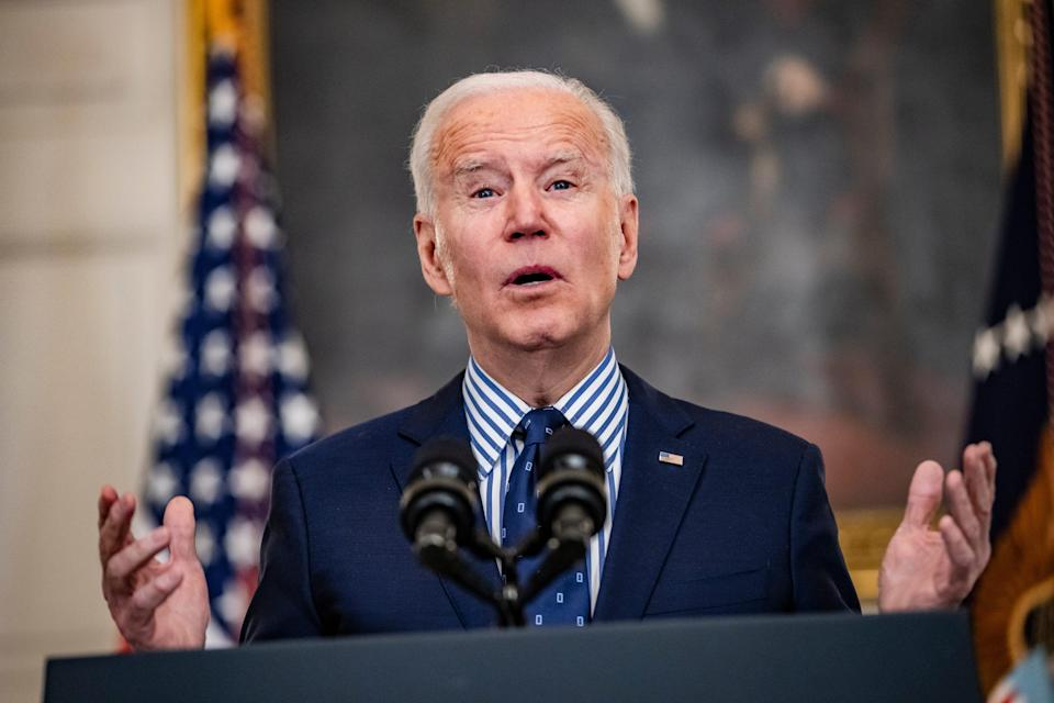 President Joe Biden speaks from the State Dining Room following the passage of the American Rescue Plan in the U.S. Senate at the White House on March 6, 2021 in Washington D.C.