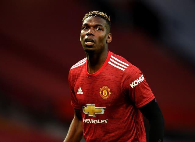 Paul Pogba wearing the red colours of Manchester United