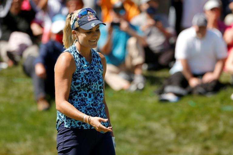 American Lexi Thompson reacts to her missed putt at the 72nd hole that cost her a playoff spot in the US Women's Open won by Yuka Saso