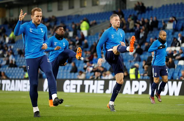 """Soccer Football - Premier League - Brighton & Hove Albion vs Tottenham Hotspur - The American Express Community Stadium, Brighton, Britain - April 17, 2018 Tottenham's Harry Kane and Toby Alderweireld during the warm up before the match Action Images via Reuters/Matthew Childs EDITORIAL USE ONLY. No use with unauthorized audio, video, data, fixture lists, club/league logos or """"live"""" services. Online in-match use limited to 75 images, no video emulation. No use in betting, games or single club/league/player publications. Please contact your account representative for further details."""