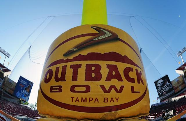 TAMPA, FL - JANUARY 1: A goalpost displays the game logo before the Michigan Wolverines play against the South Carolina Gamecocks in the Outback Bowl January 1, 2013 at Raymond James Stadium in Tampa, Florida. (Photo by Al Messerschmidt/Getty Images)