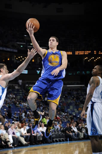 NEW ORLEANS, LA - MARCH 21: Klay Thompson #11 of the Golden State Warriors goes to the basket during the game between the New Orleans Hornets and the Golden State Warriors on March 21, 2012 at the New Orleans Arena in New Orleans, Louisiana. (Photo by Bill Baptist/NBAE via Getty Images)
