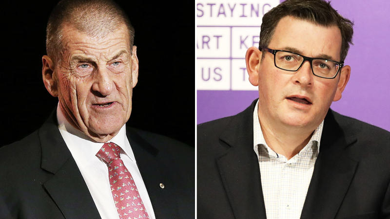 Jeff Kennett and Daniel Andrews, pictured here speaking to the media.