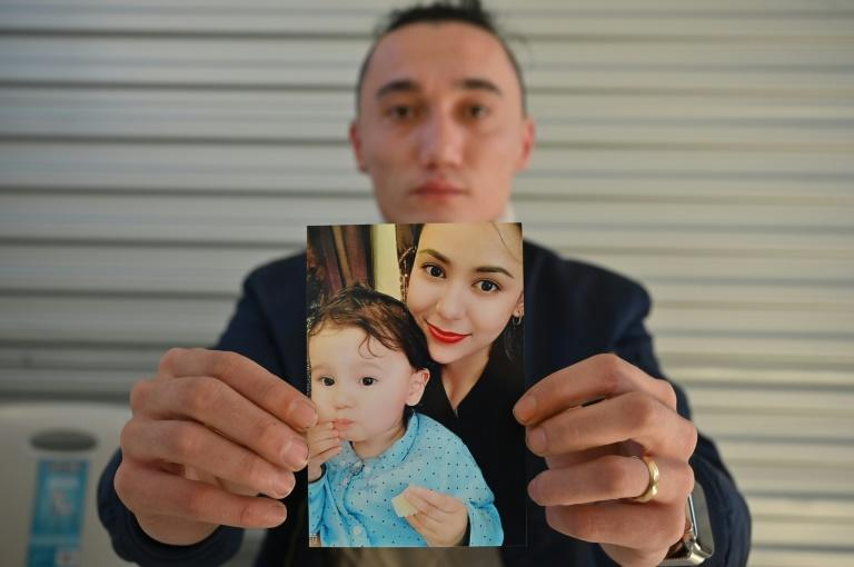 Sadam Abdusalam has been campaigning for months so his Uighur wife and their son can come to Australia (AFP Photo/PETER PARKS)