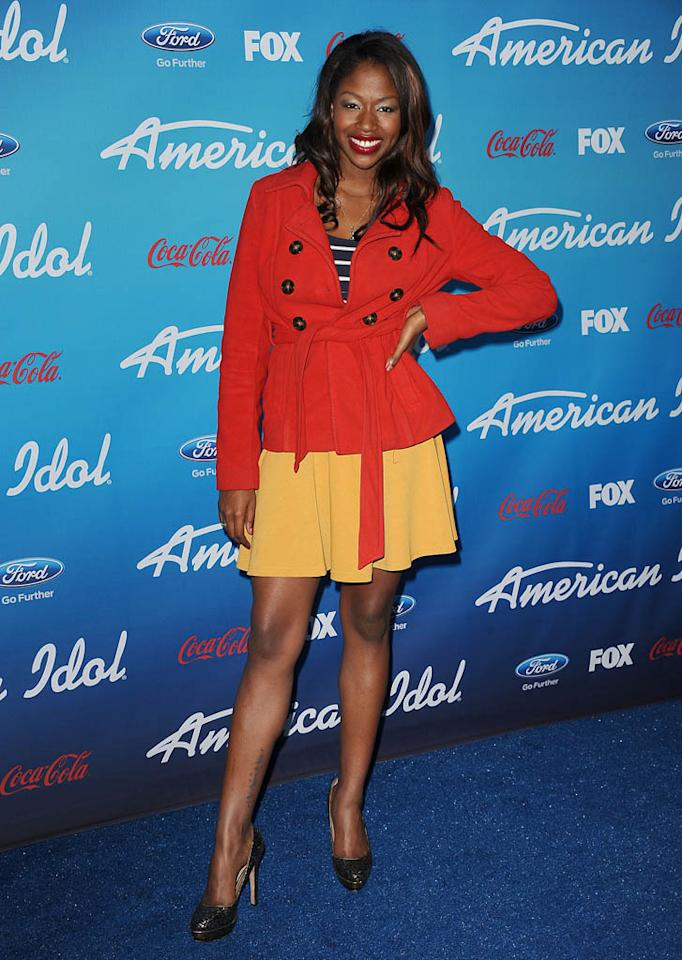 "Amber Holcomb attends the FOX ""American Idol"" finalists party at The Grove on March 7, 2013 in Los Angeles, California."