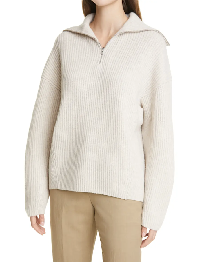 "Vince always comes through with top-notch knits. This pearly sweater is made of a wool-cashmere blend, and the oversized collar is a nice delicate touch. $465, Nordstrom. <a href=""https://www.nordstrom.com/s/vince-ribbed-half-zip-sweater/5824535"" rel=""nofollow noopener"" target=""_blank"" data-ylk=""slk:Get it now!"" class=""link rapid-noclick-resp"">Get it now!</a>"