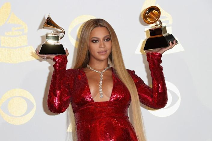 Singer Beyonce, winner of the best contemporary urban album for
