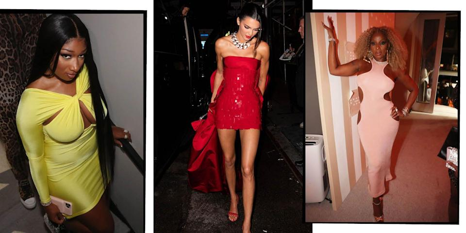 """<p>Admiring all the red carpet fashion from the <a href=""""https://www.harpersbazaar.com/uk/met-gala/"""" rel=""""nofollow noopener"""" target=""""_blank"""" data-ylk=""""slk:Met Gala"""" class=""""link rapid-noclick-resp"""">Met Gala</a> is one thing, but we also love seeing all of the outrageous Met Gala after-party fashion thanks to the best celebrity outfit changes after fashion's biggest party. </p><p>This year's exhibition, and therefore the <a href=""""https://www.harpersbazaar.com/uk/fashion/a36092219/met-gala-2021/"""" rel=""""nofollow noopener"""" target=""""_blank"""" data-ylk=""""slk:accompanying theme"""" class=""""link rapid-noclick-resp"""">accompanying theme</a>, was 'In America: A Lexicon of Fashion' or 'American Independence' which celebrates the Costume Institute's 75th anniversary and explores a modern vocabulary of American fashion. When it came to the gala outfits, we saw both obvious and subtle nods to American fashion, culture and history, while plenty of American designers were represented at the event. We saw everything from Kim Kardashian's Balenciaga look which <a href=""""https://www.harpersbazaar.com/uk/fashion/fashion-news/a37604911/kim-kardashian-met-gala-response/"""" rel=""""nofollow noopener"""" target=""""_blank"""" data-ylk=""""slk:divided opinion"""" class=""""link rapid-noclick-resp"""">divided opinion</a>, the <a href=""""https://www.harpersbazaar.com/uk/fashion/fashion-news/a37589623/naked-dressing-met-gala/"""" rel=""""nofollow noopener"""" target=""""_blank"""" data-ylk=""""slk:return of naked dressing"""" class=""""link rapid-noclick-resp"""">return of naked dressing</a> from the likes of Zoë Kravitz and Kendall Jenner, as well as our 10 best looks from the <a href=""""https://www.harpersbazaar.com/uk/fashion/g37587260/met-gala-2021-red-carpet-all-looks/"""" rel=""""nofollow noopener"""" target=""""_blank"""" data-ylk=""""slk:2021 Met Gala red carpet. To see more fashion from the night, see every single attendee here"""" class=""""link rapid-noclick-resp"""">2021 Met Gala red carpet. To see more fashion from the night, see every single attendee here</a>. </p><p>Here we"""