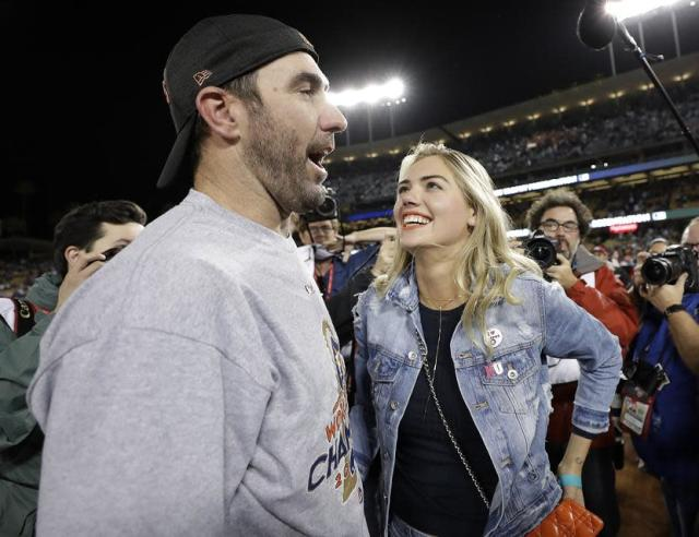 "<a class=""link rapid-noclick-resp"" href=""/mlb/players/7590/"" data-ylk=""slk:Justin Verlander"">Justin Verlander</a> and Kate Upton always give us something to talk about on social media. (AP)"