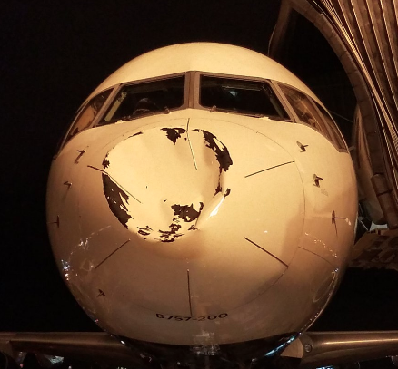 The nose of the Thunder's plane shows extensive damage after landing safely. (Twitter/@RealStevenAdams)