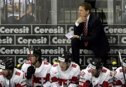 Switzerland's head coach Glen Hanlon looks the players during their Ice Hockey World Championship game against Czech Republic at the O2 arena in Prague, Czech Republic May 12, 2015. REUTERS/David W Cerny
