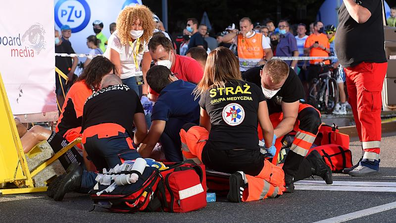 Medical staff, pictured here attending to Fabio Jakobsen after the crash.