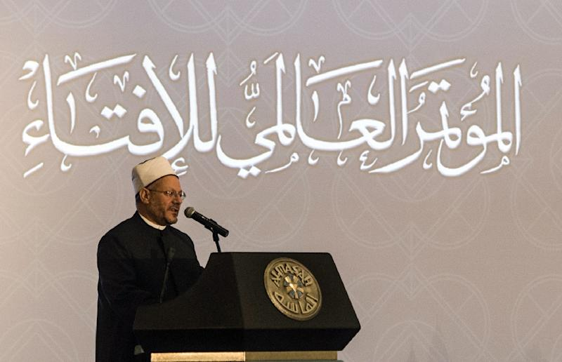 Shawki Ibrahim Abdel-Karim Allam, the Grand Mufti of Egypt, speaks during the opening session of the Fatwa international conference, attended by Arab Islamic clerics, in Cairo on August 17, 2015 (AFP Photo/Khaled Desouki)