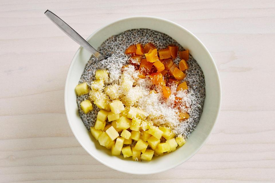 """If you're short on time, just top some pineapple chunks with chopped dried apricots and some pan-toasted chia seeds for a little crunch and protein. <a href=""""https://www.bonappetit.com/recipe/chia-pudding-dried-apricots-pineapple?mbid=synd_yahoo_rss"""" rel=""""nofollow noopener"""" target=""""_blank"""" data-ylk=""""slk:See recipe."""" class=""""link rapid-noclick-resp"""">See recipe.</a>"""