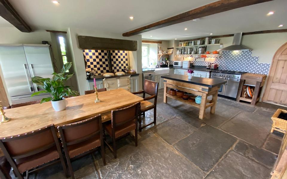 The kitchen-dining room at Pitcombe Barn in Somerset