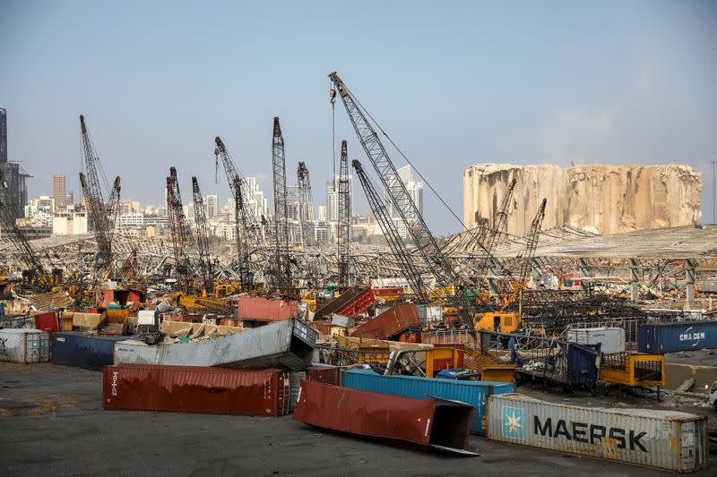 A view of the damaged port following a massive explosion, in Beirut