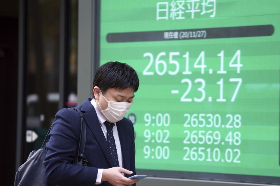 A man wearing a protective face mask to help curb the spread of the coronavirus walks past an electronic stock board showing Japan's Nikkei 225 index at a securities firm Friday, Nov. 27, 2020, in Tokyo. Asian stock markets declined Friday as questions about the effectiveness of one possible coronavirus vaccine weighed on investor optimism. (AP Photo/Eugene Hoshiko)
