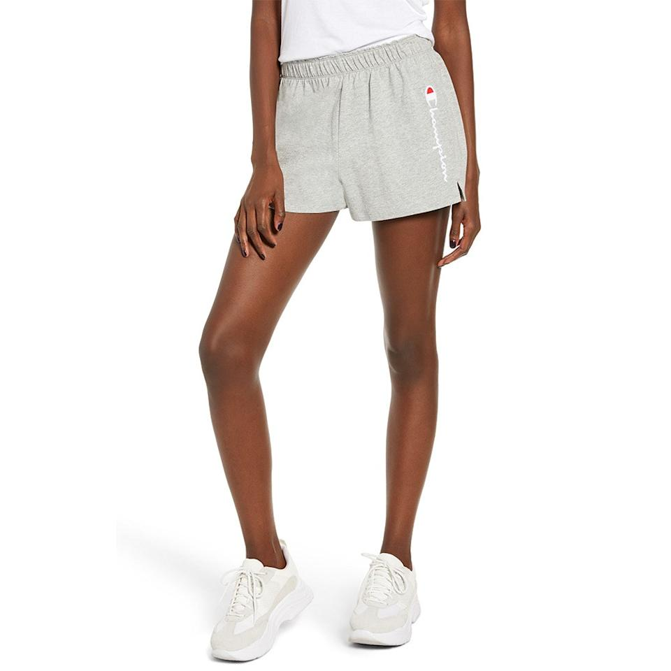 """<p>The heat wave this coming weekend has us thinking about shorts (lots and lots of shorts).</p> <p><em>Available in sizes x-small to xx-large.</em></p> <p><strong>Buy it:</strong> $26 (originally $35), <a href=""""https://click.linksynergy.com/deeplink?id=40vMHOk88JI&mid=1237&u1=nordstromanniversaryfitness&murl=https://shop.nordstrom.com/s/champion-embroidered-script-logo-athletic-shorts/5274032"""" rel=""""nofollow"""">shop.nordstrom.com</a></p>"""