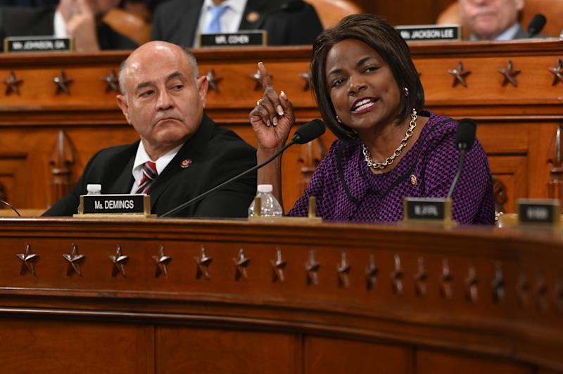 Rep. Val Demings, D-Fla., gives her opening statement as the House Judiciary Committee meets to markup Articles of Impeachment against President Donald Trump.