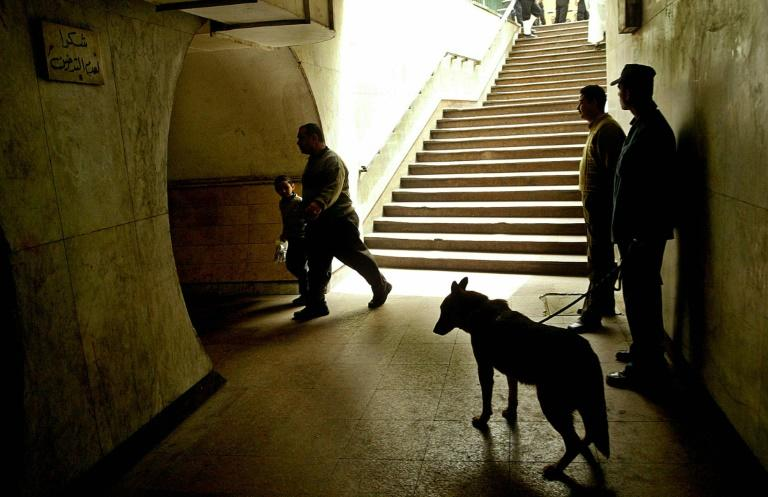 Egyptian policemen  are pictured working with an explosive sniffer dog  in 2005