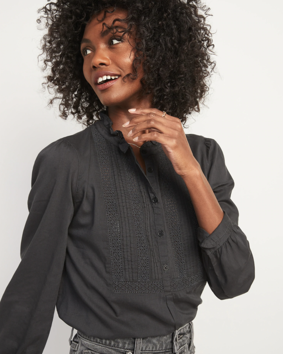Ruffled Pintucked-Yoke Popover Blouse for Women - on sale at Old Navy, $20 (originally $40).