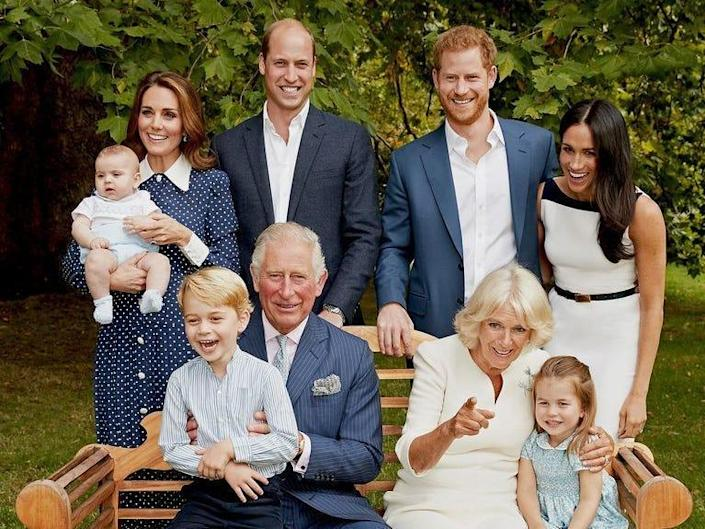 The royals on Charles' 70th birthday, including William and Kate, Harry and Meghan, Camilla, and George, Charlotte, and Louis.