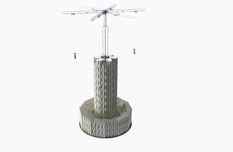 A simulation of a large-scale Energy Vault plant built of stacking concrete blocks.