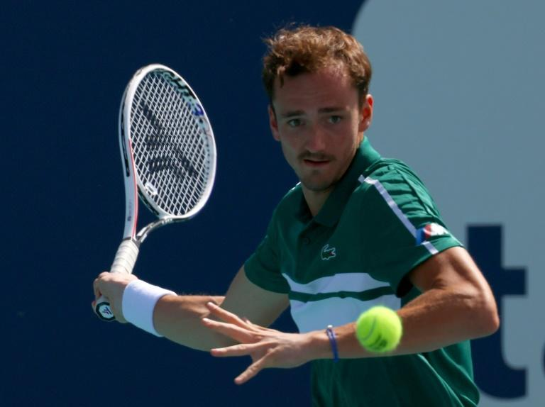 Top-seeded Daniil Medvedev of Russia on the way to a third-round victory over Australian Alexei Popyrin at the Miami Open ATP and WTA hardcourt tennis tournament