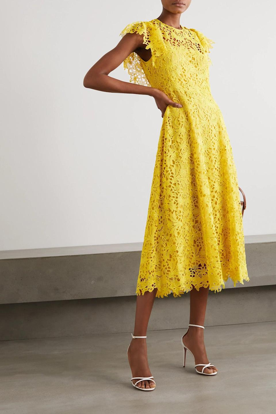 """<h2>Lela Rose Guipure Lace Midi Dress In Yellow</h2><br>A lacy tea-length dress is a classic choice for an intimate wedding — and when rendered in a cheerful shade of sunflower yellow, it will bring an extra-bright light to your special day.<br><br><em>Shop Lela Rose at <strong><a href=""""https://www.net-a-porter.com/en-us/shop/designer/lela-rose"""" rel=""""nofollow noopener"""" target=""""_blank"""" data-ylk=""""slk:Net-a-Porter"""" class=""""link rapid-noclick-resp"""">Net-a-Porter</a></strong></em><br><br><strong>Lela Rose</strong> Wildflower guipure lace midi dress, $, available at <a href=""""https://go.skimresources.com/?id=30283X879131&url=https%3A%2F%2Fwww.net-a-porter.com%2Fen-us%2Fshop%2Fproduct%2Flela-rose%2Fclothing%2Fmidi-dresses%2Fwildflower-guipure-lace-midi-dress%2F24092600056996820"""" rel=""""nofollow noopener"""" target=""""_blank"""" data-ylk=""""slk:Net-A-Porter"""" class=""""link rapid-noclick-resp"""">Net-A-Porter</a>"""