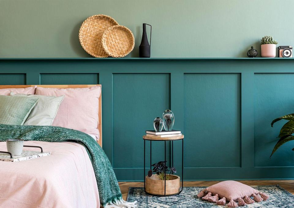 <p>If you're looking for creative green bedroom ideas, try painting a lighter shade of green up to the ceiling and then a darker colour on the lower half, which will help to anchor the space. </p><p>This should help create a feeling of height, making it especially ideal for smaller rooms.</p>
