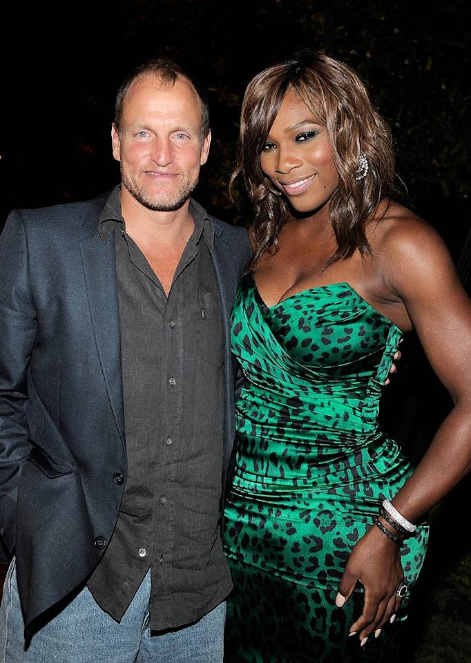 "Actor Woody Harrelson, who got chummy with Serena, will reportedly star alongside another big-name athlete, Alex Rodriguez, in the upcoming movie ""Friends With Benefits."" Charley Gallay/<a href=""http://www.gettyimages.com/"" target=""new"">GettyImages.com</a> - July 12, 2010"