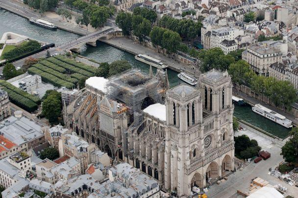 PHOTO: A view shows the damaged roof of Notre-Dame de Paris during restoration work, three months after a fire that devastated the cathedral in Paris, July 14, 2019. (Philippe Wojazer/Reuters)