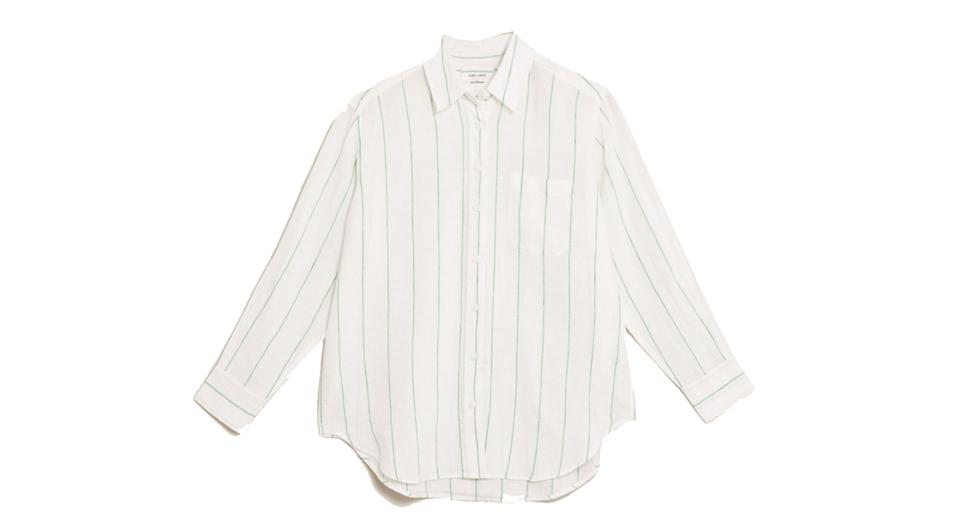 Pure Linen Striped Oversized Shirt