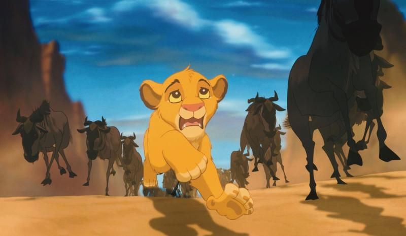 The wildebeest scene only lasted around two to three minutes, but took more than two years to animate. (Disney)