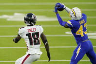 Los Angeles Chargers cornerback Michael Davis (43) intercepts a pass intended for Atlanta Falcons wide receiver Calvin Ridley (18) during the second half of an NFL football game Sunday, Dec. 13, 2020, in Inglewood, Calif. (AP Photo/Ashley Landis)