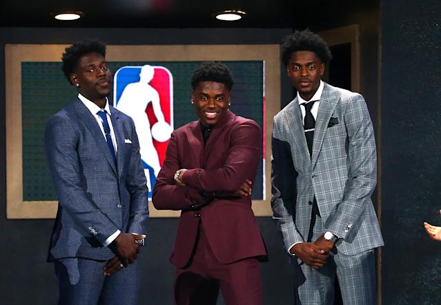 Aaron Holiday (C) poses with brothers Justin Holiday and Jrue Holiday during the 2018 NBA draft at the Barclays Center on June 21, 2018. (Mike Stobe/Getty Images)