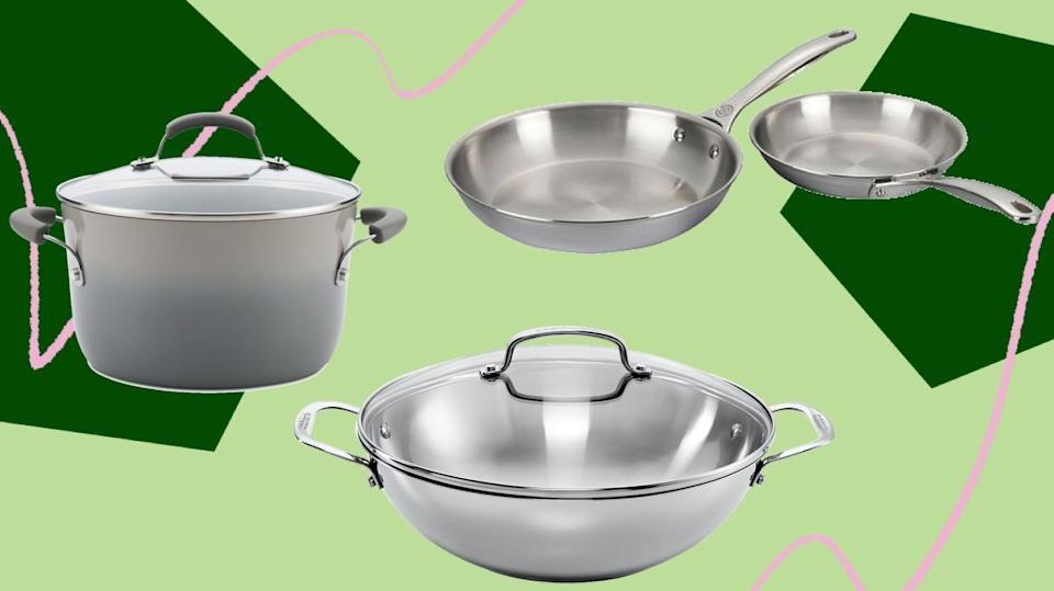 These stock pots and fry pans are still in stock for Prime Day. (Photo: HuffPost)